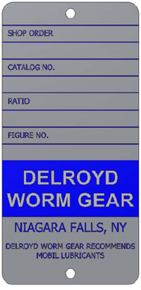Delroyd Worm Gear Name Plate Vertical