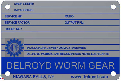 Delroyd Worm Gear Name Plate